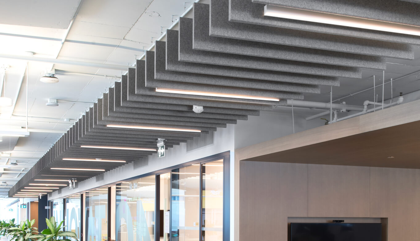 Ceiling of linear baffles in large room